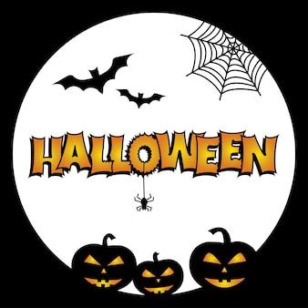 Greeting card for halloween. bats, pumpkins, cobweb, spider moon vector illustration