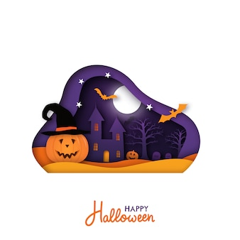 Greeting card for halloween holiday in paper cut style.