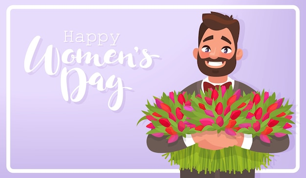 Greeting card happy 8th of march. international women's day. man with flowers.