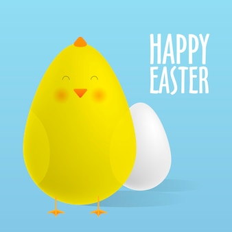 Greeting card, happy easter. easter egg and a cute chick. realistic vector illustrations