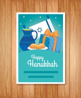 Greeting card of happy hanukkah with decoration