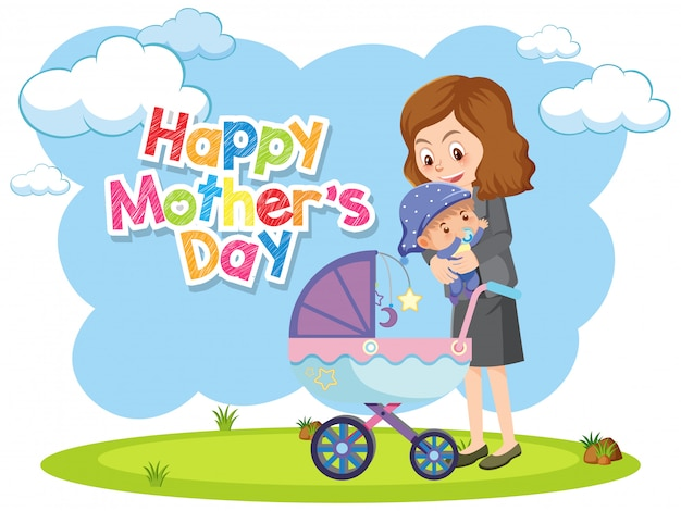 Greeting card for happy mother's day with mom and baby