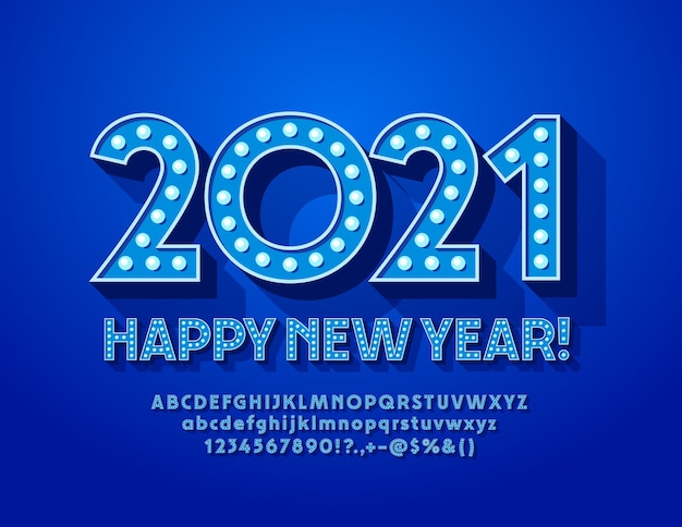 Открытка с новым 2021 годом! синяя лампа шрифт лампа буквы и цифры алфавита