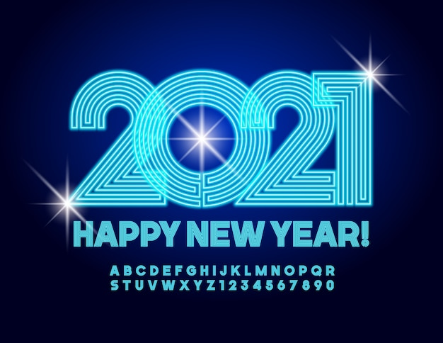 Greeting card happy new year 2021! electric font. neon creative alphabet letters and numbers