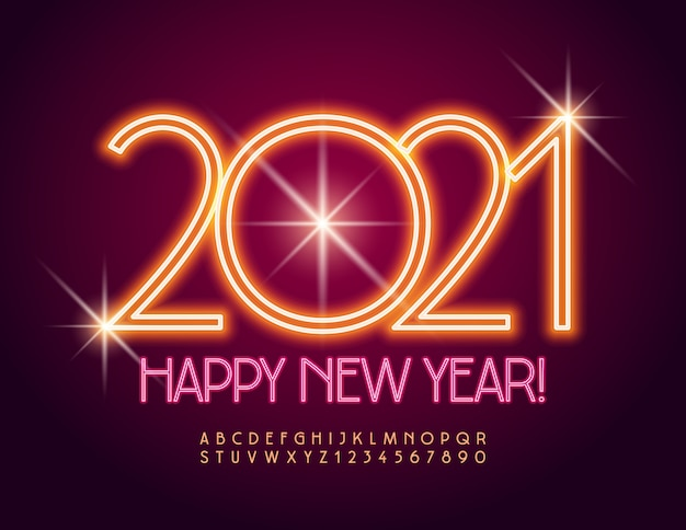 Greeting card happy new year 2021! electric orange font. neon alphabet letters and numbers