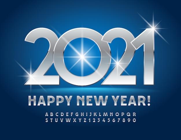 인사말 카드 새해 복 많이 받으세요 2021! 금속 광택 글꼴. 크롬 알파벳 문자 및 숫자