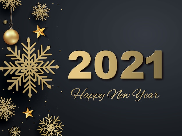 2021 happy new year. gold design metallic numbers date ...