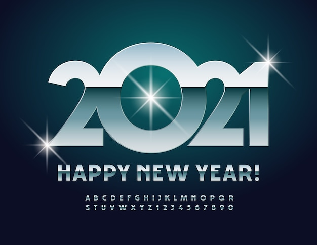Greeting card happy new year 2021! modern metallic font. glossy alphabet letters and numbers