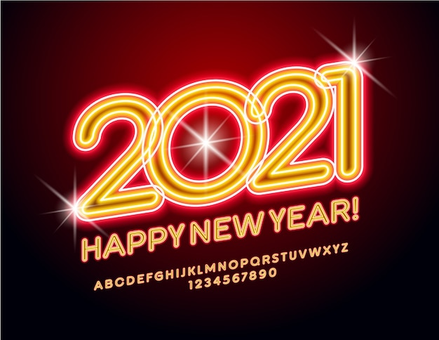 Greeting card happy new year 2021! orange bright font. neon alphabet letters and numbers set