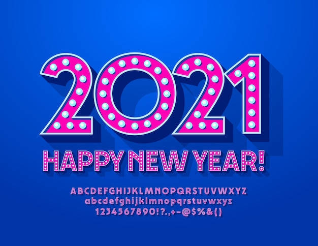 인사말 카드 새해 복 많이 받으세요 2021! 유행 램프 글꼴. 핑크 복고풍 알파벳 문자와 숫자