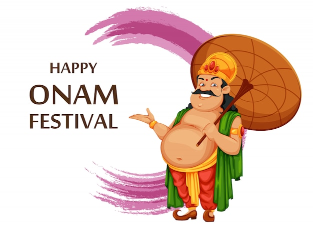 Greeting card for happy onam festival in kerala