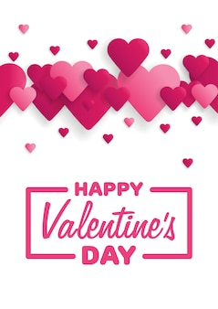 Greeting card happy valentine's day. lettering with hearts on the background. vector illustration.