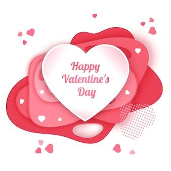 Открытка с днем святого валентина с розовым фоном в стиле вырезки из бумаги