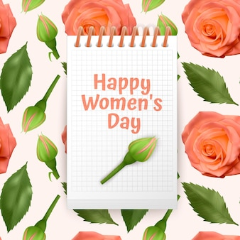 Greeting card happy women's day, card with seamless, endless background with bright orange roses and green leaves.