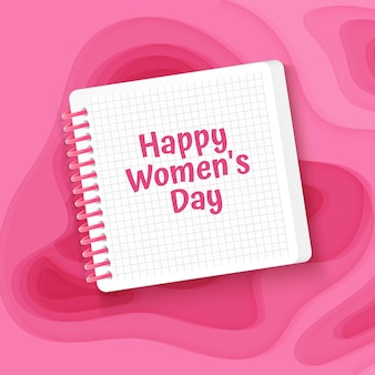 분홍색 종이 컷 스타일 배경으로 인사말 카드 해피 여성의 날