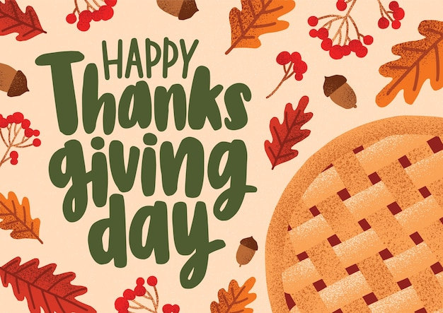 Greeting card or horizontal banner template with happy thanksgiving message handwritten