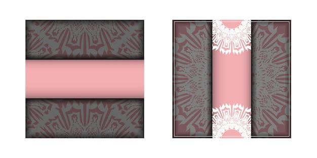 タイポグラフィ用に用意されたヴィンテージの白いパターンのピンクのグリーティングカード。