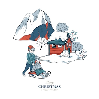 Поздравительная открытка в скандинавском стиле зимних красных домиков, покрытых снегом, люди на санках, катание на коньках на катке
