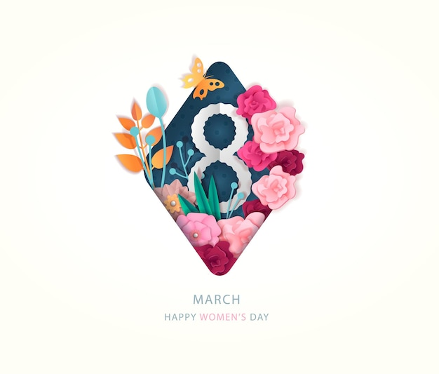 Greeting card international womens day march 8 banner with flowers decor and number eight vector