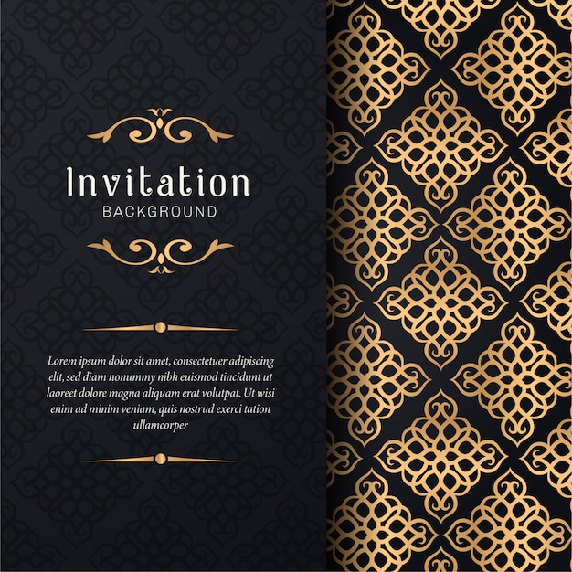 Greeting card invitation with floral ornaments, gold ornamental pattern background
