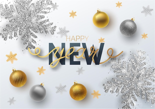 Greeting card, invitation with happy new year 2019. gold and silver christmas ball