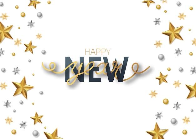 グリーティングカード、新年あけましておめでとうございますとクリスマスの招待状。 「明けましておめでとう」のレタリング。メタリックゴールドの星、装飾、白い背景にきらめき。