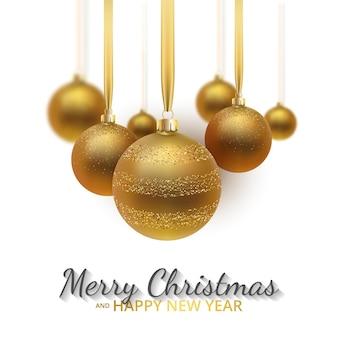 グリーティングカード、新年あけましておめでとうございますとクリスマスの招待状。メタリックゴールドのクリスマスボール、装飾、きらめく、白い背景の光沢のある紙吹雪。