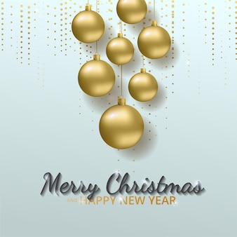 Greeting card, invitation with happy new year and christmas. metallic gold christmas balls, decoration, shimmering, shiny confett.