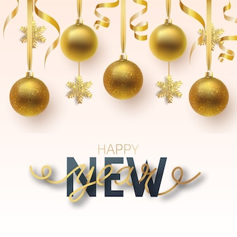 Greeting card, invitation with happy new year and christmas. metallic gold and snowflake christmas balls, decoration, shiny confetti on a white background.
