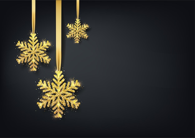 Greeting card, invitation with happy new year and christmas. metallic gold snowflake, shiny confetti on a black background.