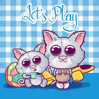 Greeting card kittens boy and girl on a toys background