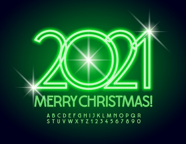 Greeting card merry christmas 2021! green neon font. glowing alphabet letters and numbers set