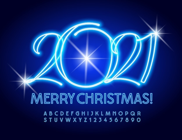 Greeting card merry christmas 2021! illuminated blue font. neon alphabet letters and numbers