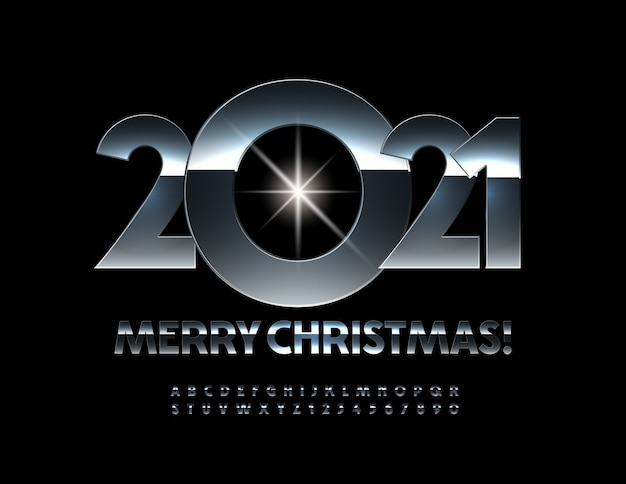 Greeting card merry christmas 2021! metal glossy font. chrome alphabet letters and numbers