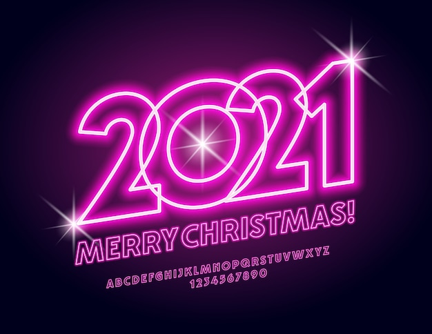 Greeting card merry christmas 2021! pink light font. neon alphabet letters and numbers set