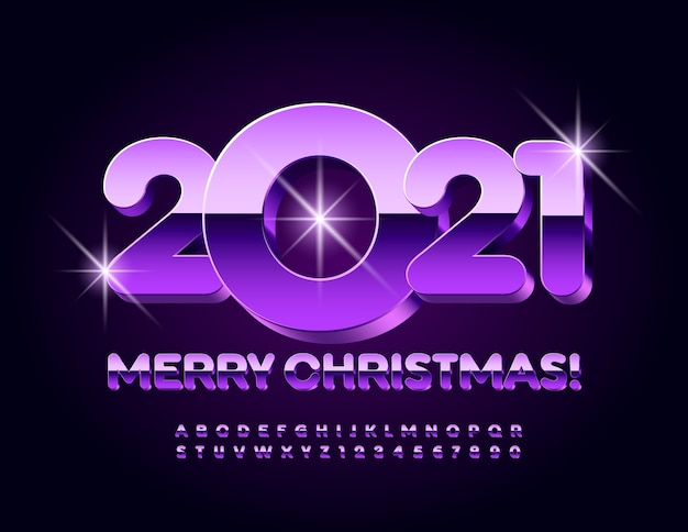 Greeting card merry christmas 2021! purple glossy font. modern alphabet letters and numbers