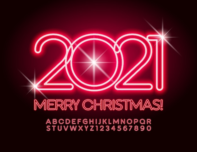 Greeting card merry christmas 2021! red neon font. glowing alphabet letters and numbers set