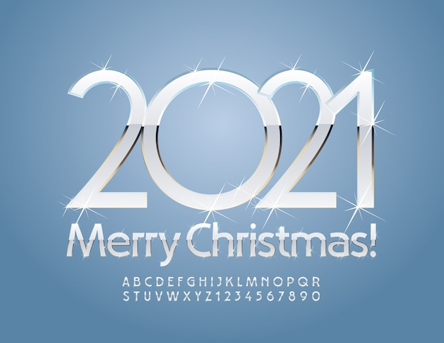 Greeting card merry christmas 2021! silver white alphabet letters and numbers. sparkling font