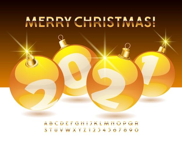 인사말 카드 메리 크리스마스 2021 장식 공입니다. 골드 알파벳. 프리미엄 엘리트 글꼴