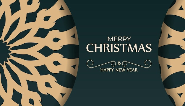 Greeting card merry christmas and happy new year in dark green color with abstract yellow ornament