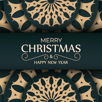 Greeting card merry christmas and happy new year in dark green color with luxury yellow ornament