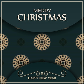 Greeting card merry christmas and happy new year in dark green color with luxury yellow pattern