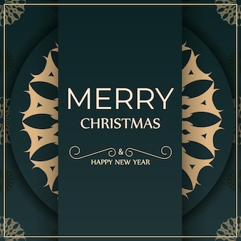 Greeting card merry christmas and happy new year in dark green color with vintage yellow ornament