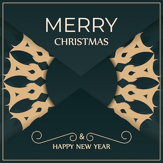 Greeting card merry christmas and happy new year in dark green color with vintage yellow pattern