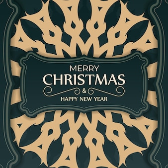 Greeting card merry christmas and happy new year in dark green color with winter yellow ornament