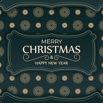 Greeting card merry christmas and happy new year in dark green color with winter yellow pattern