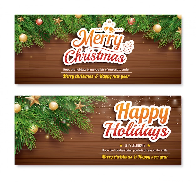 Greeting card merry christmas party banner template