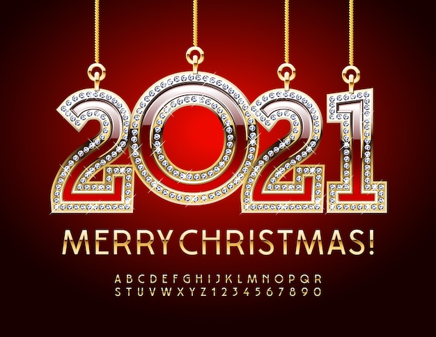 Greeting card merry christmas with diamond 2021. chic font. gold alphabet letters and numbers