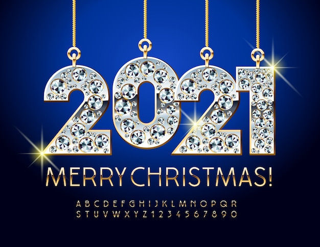 Greeting card merry christmas with diamond toys 2021. gold alphabet letters and numbers set