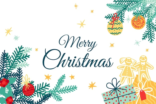 인사말 카드-축제 요소와 녹색 전나무 가지와 함께 메리 크리스마스.
